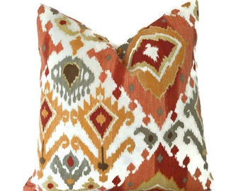 Outdoor Pillows Outdoor Pillow Covers Decorative Pillows ANY SIZE Pillow Cover Ikat Pillows Orange Pillow Mill Creek Outdoor Lavezzi Paprika