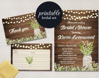 Rustic Bridal Shower Invitation SUMMER Bridal Shower Invitation Mason Jar Shower Invite fall Babys breath Floral bridal shower Invitation