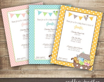 Noah's Ark Baby Shower Invitation,  Baby Boy,  Baby Girl, Gender Neutral, Animals & Polka Dots Invitation, Printable Digital File or Printed