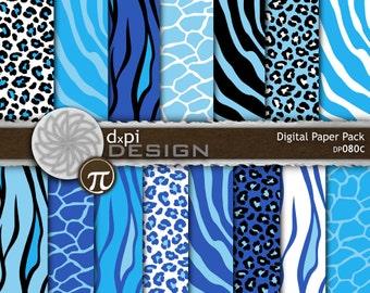 Blue Animal Prints - Digital Paper & Printable Backgrounds - blue zebra, tiger, giraffe, leopard scrapbook - Instant Download (DP080C)