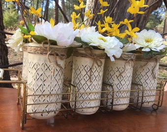Mason Jars in Vintage Wire Drink Tray-Tray-Farmhouse Decor-Vintage Decor-Mason jar Centerpiece-Table Decor- New Home Decor