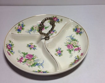 Small Three Section Floral Serving Platter- Vintage Made in Japan