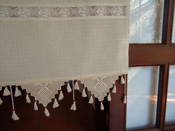 Cortina de la casa cocina cortina cenefa Crochet cortina