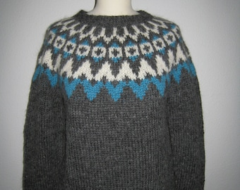 "Handmade Icelandic wool sweater or ""Lopapeysa"" as we call it, knitted in Iceland."