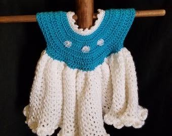 Baby Dress with Pleats Size 6 months Teal and White Ready-To-Ship