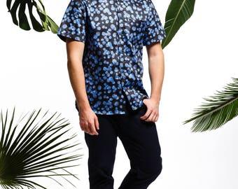 Handmade men's blueberry shirt, men's summer shirt