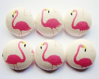 Sewing Buttons / Fabric Buttons - Pink Flamingos - 6 Large Fabric Buttons Set