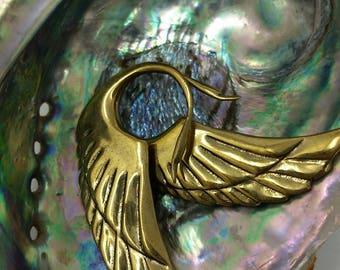 Angel wings brass earrings