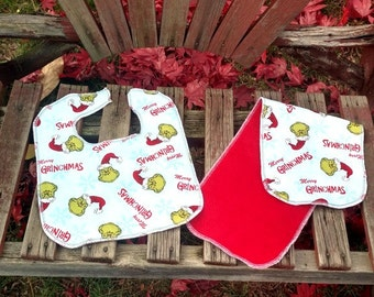 Dr Suess The Grinch Bib and Burp Cloth Set - Adjustable size from infant to toddler- Christmas bib set - snap bib - drool bibs