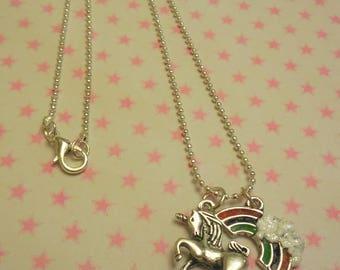 Unicorn necklace, unicorn charm, rainbow necklace, fantasy jewelry, unicorn pendant, unicorn jewelry, handmade jewelry