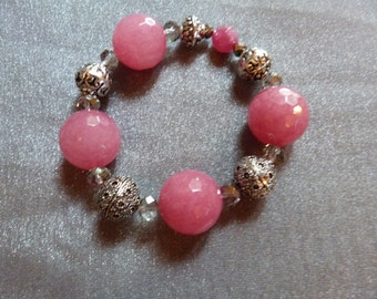Bright pink agate, silver and crystal stretch bracelet
