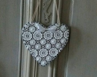 shabby heart hanging, wood and white lace