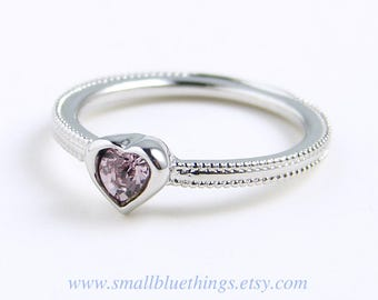 Heart Ring ~ Small Light Amethyst Heart Ring ~ February Birthday ~ Swarovski Heart Ring ~ Dainty Ring ~ Pinky Ring ~ Valentine's Gift