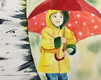 Original Watercolor Painting Little Girl Red Umbrella Aspen Tree Art Nursery Decor Child's Room Rainy Day Yellow Slicker Red Boots