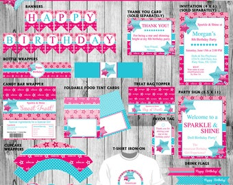 American Birthday Girl - Printable Party Pack WITHOUT Invitation and Thank you Card - Pink and Blue