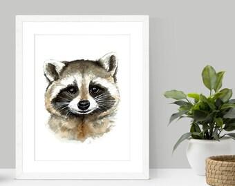 Raccoon Watercolor Print   Raccoon Art   Raccoon painting   Raccoon print   Woodland theme   woodland decor   kids decor   nursery decor