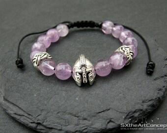 Amethyst mala bracelet, purple cuff, protective wristband, Roman Knight Spartan Warrior Gladiator Helmet, men gift jewelry