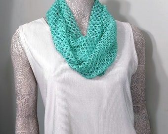 Open weave lightweight airy aqua fabric ladies infinity scarf. Lightweight, washable, casual or classy professional look
