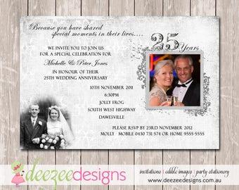 Wedding Anniversary Invitation - 25th Silver - YOU PRINT - A001