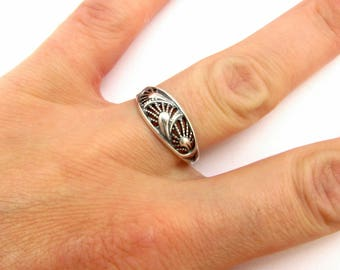 Dainty sterling silver ring Sterling silver filigree ring Dainty band ring Xmas gift for sister Ring vintage women Sterling ring leaf