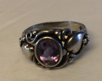 Sterling Silver Ring with Amethyst vintage style