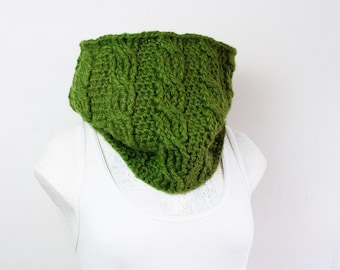 Crochet Leaf Green Cabled Cowl Neck Warmer Infinity Scarf Warm Fall Accessories Winter Gifts for Her Olive Green Crochet Cowl Knitwear