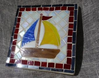 Mosaic Sail Boat Wall Art