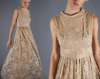 60s Lace Maxi Dress Nude Beige Taupe Vintage  Floor Duster Sweeping Gown Bridal Vintage Wedding Dress Bust 36 Waist 30