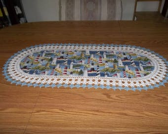 Lighthouse Table Runner Best Doilies Crochet Fabric Table Runner Crocheted Edge Centerpiece Table Topper Tablecloth Dresser Scarf
