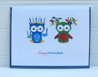 Chrismukkah Card, Interfaith Couple, Blended Family, Christmas and Hanukkah,  Happy Chrismukkah,