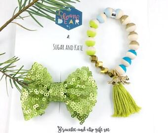 Clip & Bracelet Gift Set, Tiger Charm Bracelet, Lime Sequin Bow, Animal Lover, Zoo, Safari, Girl Gift, Girl Birthday