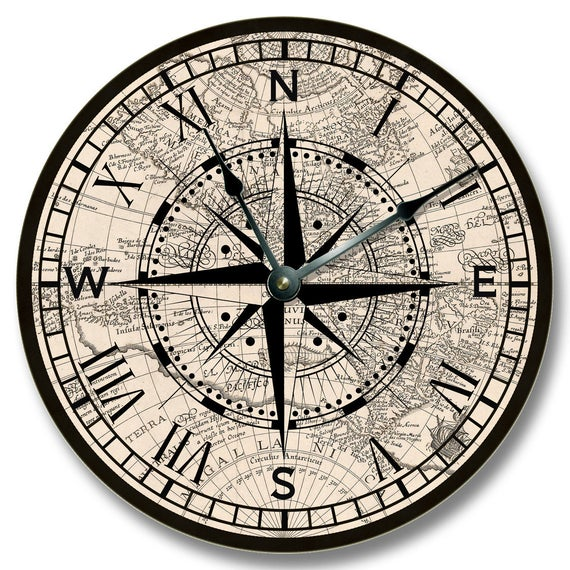 COMPASS ROSE Wall Clock - Old Map Pattern