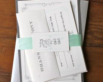 "Mint Green Wedding Invitations, Pale Mint, Seafoam Green - ""Whimsy Elegance Pale Mint Green"" Deposit"
