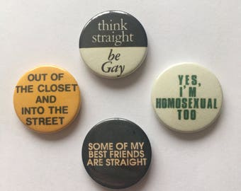 4 Pack Gay Pride LGBT Lesbian Badges Pin Buttons Set