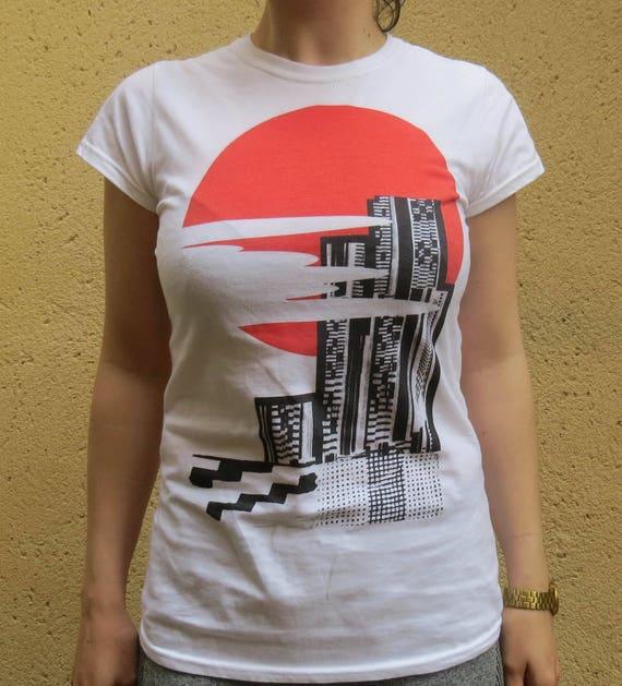 Graphic Design Print Ernst Skyscraper City Scape Abstract Khaki Tee jthDbF2S