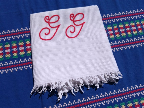 Antique White French Dish Cloth Fringed GG Red Monogram 1930's Waffle Cotton Towel #sophieladydeparis
