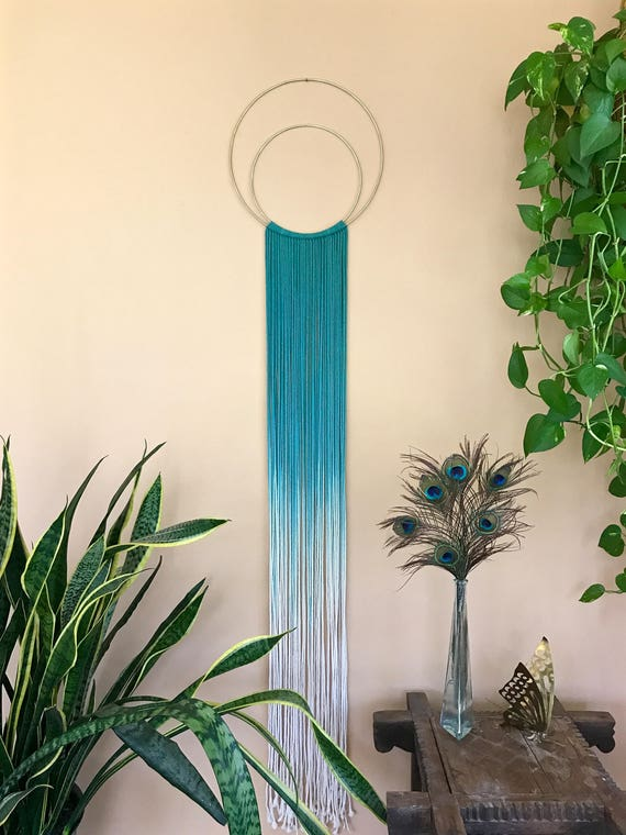 Double Hoop Macrame Dream Catcher - Hand Dyed Ombre Teal Rope