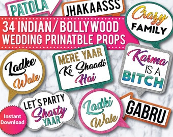 34 Indian Wedding, Bollywood Wedding Photo Booth PRINTABLE Props Signs, Bollywood Props, India Party Props, Bollywood Wedding props