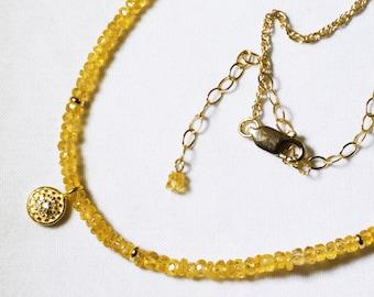 Yellow Sapphire Statement Necklace Genuine Sapphire Necklace Yellow Necklace Adjustable Necklace Sapphire Jewelry GEM-N-185-YSapphg