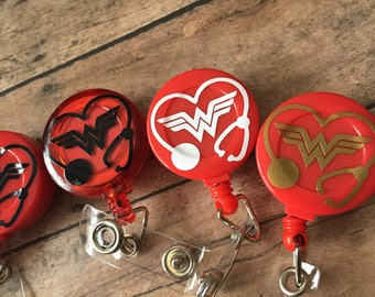 The Wonder Woman Stethoscope Retractable Badge ID Reel RED
