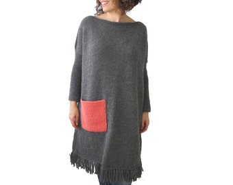Dark Gray Hand Knitted Dress with Pink Pocket