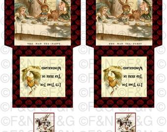 """Alice in Wonderland """"It's Time For Tea In Wonderland"""", Digital Paper Bag, Tea Holder Envelopes, Digital Collage Sheet, Tea Party, Printable"""