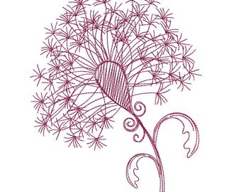 Dandylion Redwork - Machine Embroidery Design