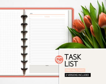 Tasks List | 2 Versions | 3 Sizes | Tasks and Notes | Digital Planner Pages | Instant Download Printable PDF