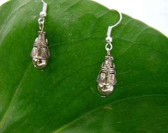 """Silver"" bead charm and metal earrings"