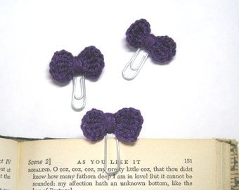 Purple Paper Clip, Set of 3, Planner Accessories, DIY Planner, Erin Condrin, Handmade Bow, Crochet Bow, Paper Clip, Planner Clip, Bow Clip