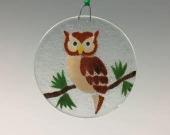 Owl Ornament, Fused Glass Owl, Birds, Glass ornament, Owls, Owl Decor