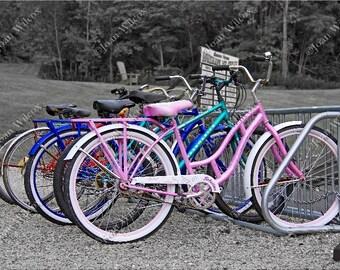 Bikes Vintage Style Bicycles Black & White Color Splash Fine Art Photography Photo Print