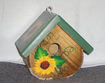 Birdhouse, Hand Made and Decorated with Sunflowers