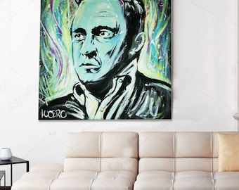 Johnny Cash painting - Johnny cash art - Johnny cash poster - Johnny cash portrait - pop art - canvas - abstract art - modern portrait, obey